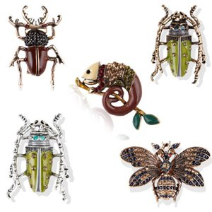 Kadınlar Bay Çocuk Konfeksiyon Badge Pim Broşlar Emaye Kertenkele Arı Locust Beetle Broş Yapay elmas Vintage Hayvan Takı Aksesuar Broş