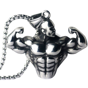 2018 Hip Hop Schmuck Edelstahl Kette Halsketten Fitness Bodybuilding HipHop Halskette Motivation Gym Workout Starke Anhänger Halskette