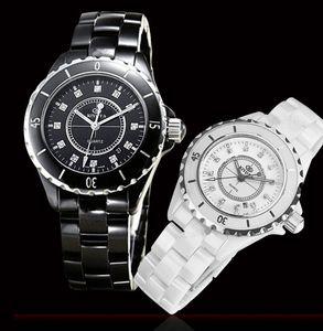 wengle Nueva tendencia de moda KINYUED Calendario de cerámica de lujo Dial giratorio Cristal de zafiro espejo Reloj de cuarzo