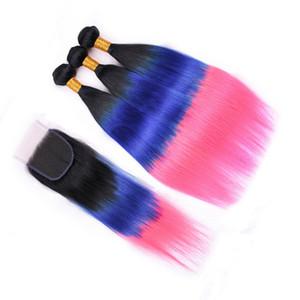 Drei Tone # 1B / Blau / Rosa Ombre Jungfrau-brasilianische Haar-Webart Bundles mit Closure seidige gerade Ombre 4x4-Spitze-Schliessen mit 3 Bundle-Angebote