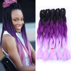 Venta al por mayor Kanekalon Three Tone Ombre trenzas Extensiones de cabello 24 pulgadas 100 g / Pc Xpression sintético Crochet Twist Jumbo trenzas de pelo púrpura