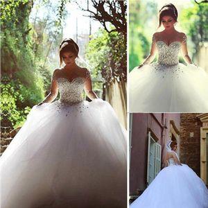 Sagte Mhamad Hochzeit Dresse für Bräute 2019 Plus Size s Strand A-Linie Brautkleid Brautkleider Langarm Sheer Neck White Tulle Boho