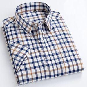Men &'s Oxford Casual Shirts Leisure Design Plaid Men 'S Social Shirts 100 %Cotton Short Sleeve Men's Dress Turn-down Collar Shirts