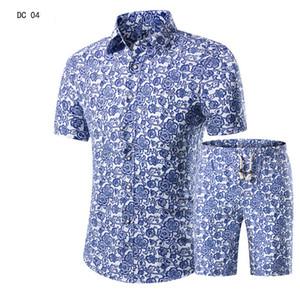 Мужские рубашки + шорты набор новых летних повседневных печатных гавайских рубашек Homme короткие костюмы мужского костюма плюс размер 5XL