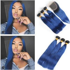 Прямые 1b / синий Ombre девственные человеческие волосы 3 комплект сделок с закрытием девственницы бразильский Ombre синий человеческие волосы ткет с закрытием кружева 4x4