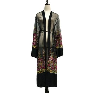 2018 Sexy Abaya Dubai Abito Musulmano Donne Ricamo Floreale Kimono Ramadan Mesh Cardigan Caftano Marocchino Abbigliamento Islamico Caftano