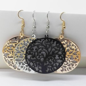 Fashion Jewelry Round Life Tree Hollow Out Scrub Earrings for Women Long Drop Earrings Designs Gold Silver