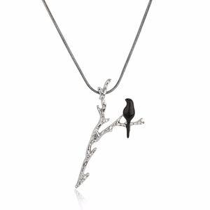 Benzersiz Tasarım Emaye Siyah Kuş Y Şekilli Üzerinde Şube Kolye Kolye Vintage Sevimli Hayvan Yaka Collar Kadınlar Takı