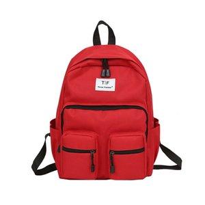2018 nuevo doble cremallera mujer mochila bolso de la escuela de estilo de la manera coreana de color puro bolsa de hombro de gran capacidad de ocio