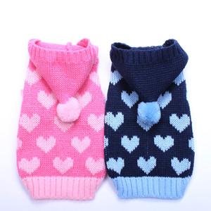 Chien Chat pull Jumper Hearts Jacquard Pet Chiot Manteau Veste Vêtement chaud vêtements 6 tailles