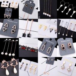 2018 fashion personality girl Madam Pearl crystal Orecchini in acciaio al titanio nappa Triangle circolare Orecchini geometrici Mix 10 stili 10 paia