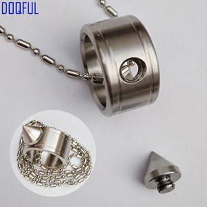 50 pz / lotto autodifesa in acciaio inox anello di barretta perlina catena di sopravvivenza EDC armi tattiche gioielli di moda di protezione all'ingrosso