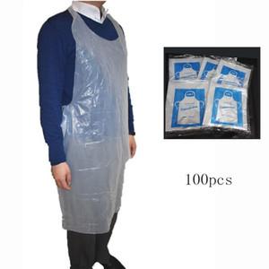 100 unids / set Cocina Limpieza Delantales De Plástico Delantal Desechable Transparente Fácil Uso Delantales de Cocina Para Mujeres Hombres Cocina