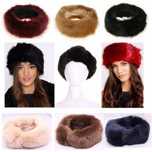 7 Cores Escolha Navio Grátis Nova Mulher Chapéu de Pele Mulheres Falske Fox Fur Chapéus Adulto Fur Bandbands No Inverno 60 * 11cm