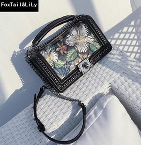 marchio di vendita diretta Borsa donna personalizzata borsa a catena colorata fiore retro stereotipata borsa in pelle stampata 3D piccola catena di profumi Wome
