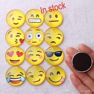 2017 Magnete Emoji Cupola di Vetro Rotondo Sorriso Faccia Espressioni Fridge Magnet Message Holder Frigorifero Autoadesivo DHL Libero-XL16 G167