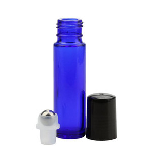 Best Price Perfume Roller Bottles Essential Oil Empty Blue Bottles 10ml Roll-On Sample Glass Bottle With Matal Roll Ball And Black Cap