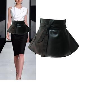 Ladies Peplum Black Dress Corset Belt da donna Bowknot Tie regolabile Pu Leather Ruffled Wide Waist Cinture per donna