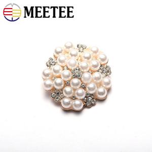 MEETEE 20 adet Zanaat Inci Kristal Rhinestone Düğmeler Çiçek Yuvarlak Küme Düğün Süsleme Takı Craft ZK952