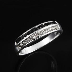 Nuovo lusso di arrivo Austria anello di cristallo d'argento 925 Sterling Silver con il nero e bianco di trasporto diamante libero 7 8 Size
