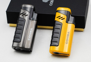 COHIBA Cigarette Cigar Lighter Cool Flame Metal Windproof Four Torch Jet Flame Lighter Use Butane Gas For Smoking