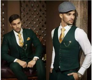 Venda quente escuro Hunter Green Men Ternos Blazer Noivo Smoking Notch lapela Slim Fit Prom Terno de negócio Terno Terno masculino (jaqueta + calça + Vest)