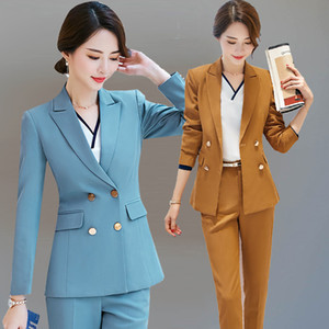 Customized new hot women's double-breasted fashion slim suit two-piece suit (coat + pants) women's business formal suit