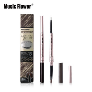 Music Flower Brand Stereoscopic Eye Makeup 4 Color Double Head Eyebrow Pencil Brows Natural Tone Long-lasting Silky Cosmetics