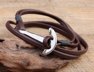 Envío gratis Silver Anchor Charm hombres de múltiples capas pulseras de cuero genuino joyería vikinga hecha a mano para el regalo