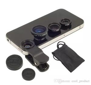 Lente ojo de pez 3 en 1 lentes de teléfono móvil ojo de pez + gran angular + lente de cámara macro para iphone X XS 8 8X 7 6s plus 5s / 5 xiaomi huawei samsung