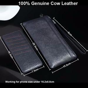Echtes Kuh-Leder-Handschlaufe-Handy-Beutel-Kasten-Taschen für Huawei Honor 9 Lite, Kamerad 10 Lite, Nova 2i, Ehre 9i / 7X, Maimang 6