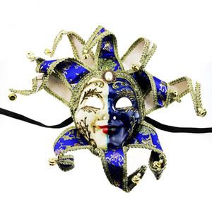 Hanzi_masks luxo completa face veneziano Joker Masquerade Mask Sinos Cosplay Mardi Gras partido da bola decoração da parede