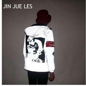 JIN JUE LES جديد أزياء الرجال 3M عاكس للماء الهيب هوب مهرج طباعة سترة واقية سترة زوجين
