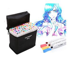 2019 Nouveau mode 60 couleurs Touchfive Art Marqueurs stylos de luxe Fournitures pour Animation Art Grasses Manga Pinceau Liners double tête