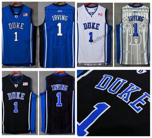 Hommes Duke Diables Bleus Kyrie Irving College Maillot De Basket-ball Pas Cher Bleu Noir 1 Kyrie Irving Surpiqué De Basket-ball Chemises