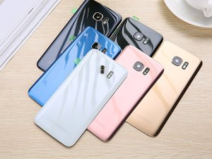 OEM del portello della batteria della copertura posteriore in vetro con coperchio dell'obiettivo della macchina fotografica + sticker adesivo per Samsung Galaxy S7 G930 S7 bordo G935F