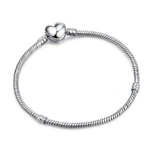 3mm Schlangenkette Armband DIY Schmuck Zubehör Silber Überzogene Herzform Grundlegende Kette 17-21 CM 5 STÜCKE Günstige DHL FREIES Weihnachtsgeschenk