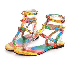 PLUS BIG SIZE:35-43 Summer Gladiator Sandals For Lady Roman Style Fashion Colorful Flip Flops Women Flat Sandals With Buckles CZ130