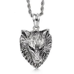 Nuova collana calda degli uomini dell'acciaio inossidabile Collana all'ingrosso dei monili di modo Punk Wolf Pendant Lion Wolf Head Necklace