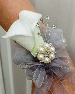 Ramillete de la muñeca - Ramillete de la cala del lirio blanco Ramilletes de la boda Ramos de novia blancos Accesorios flores de la cintura de dama de honor