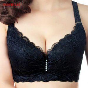 OUDOMILAI empuja hacia arriba el sujetador grande del tamaño del cordón de la ropa interior ajustada Bralette Soutien Gorge atractivo del sujetador con relleno C D Bh Plus Bras para las mujeres