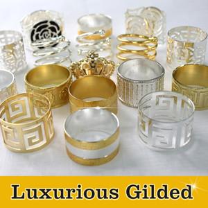 Titolare del tovagliolo del pranzo della decorazione delle decorazioni di nozze dorate dorate di alta qualità, anello di tovagliolo delle forniture d'annata lussuose del partito