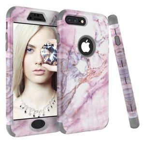 Hybrid Tri-couche Gel Silicone Couverture Arrière Shell Armor Bumper Defender Marble Téléphone Case Améliorer Pour iPhone X XS Max XR 6s 7 8