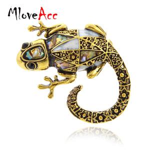 MloveAcc Vintage Vivid Lizard Broche Abalone Shell Animal Broches pour Écharpe Chandail Corsage Bijoux Broches Enfants Hommes Femmes Cadeaux