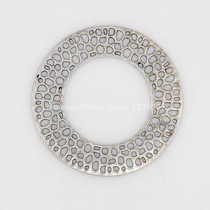 Hallazgos de la joyería Aleación de plata antigua del estilo tibetano Colgantes grandes, redondos y planos, de unos 50 mm de diámetro y 1,5 mm de grosor