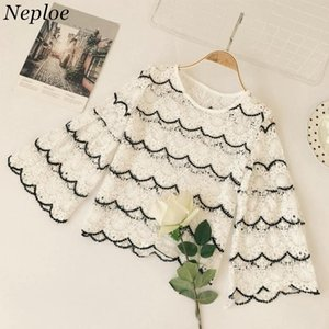 Neploe Korean Lace Crochet Women Blouse 2018 New Fashion Wave Cut Striped Shirts Flare Sleeve Jacquard Female Blusas 67023