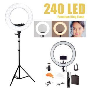 Cámara Foto Estudio Teléfono Video 55W 240PCS 18 '' Luz LED de anillo 5500K Fotografía Lámpara de anillo de maquillaje regulable con 180 CM