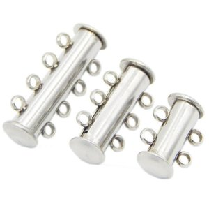 JLN Four Row Four Strand Multi Strand 925 Sterling Silver Tube Magnetic Classp For Bracel And Said