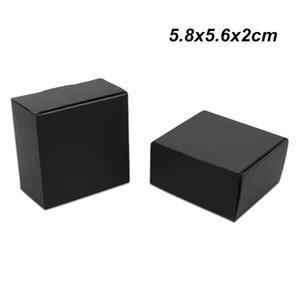 50 unidades 5.8x5.6x2 cm Tablero de papel negro Jabón hecho a mano Paquete de accesorios Caja de papel Kraft Regalos de cumpleaños Artesanía Almacenamiento Cajas de embalaje