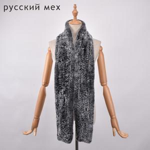 largo 170 cm reales bufanda de la piel de las mujeres de los hombres de piel de conejo Rex bufanda larga caliente natural bufanda de la piel del silenciador
